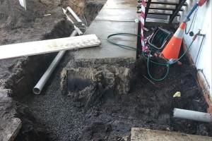 Sewer repair progress